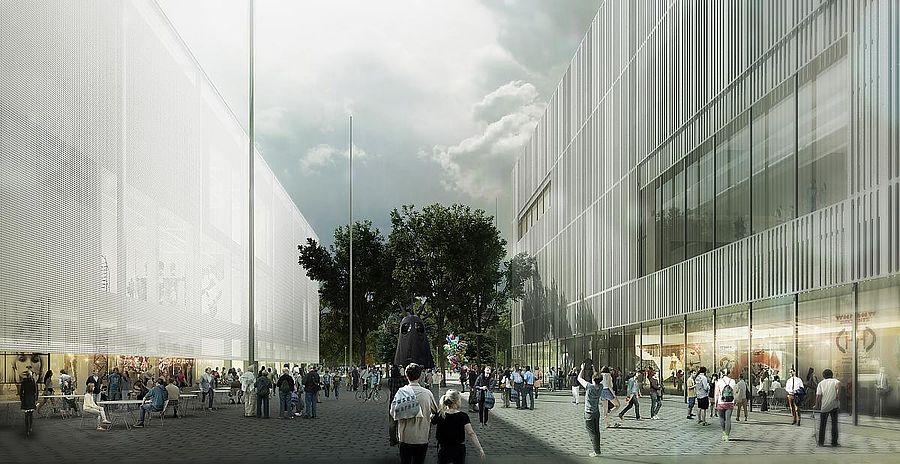 Koncepcja architektoniczna budynków Muzeum Sztuki Nowoczesnej i TR Warszawa, proj. Thomas Phifer&Partners, 2015